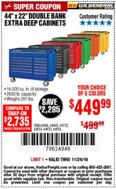 "Harbor Freight Coupon 44"" X 22"" DOUBLE BANK EXTRA DEEP ROLLER CABINETS Lot No. 64444/64445/64446/64441/64442/64443/64281/64134/64133/64954/64955/64956 Expired: 11/24/19 - $449.99"