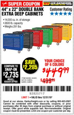 "Harbor Freight Coupon 44"" X 22"" DOUBLE BANK EXTRA DEEP ROLLER CABINETS Lot No. 64444/64445/64446/64441/64442/64443/64281/64134/64133/64954/64955/64956 Expired: 12/31/19 - $449.99"
