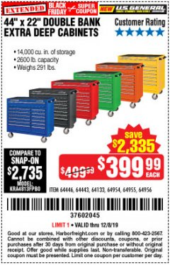 "Harbor Freight Coupon 44"" X 22"" DOUBLE BANK EXTRA DEEP ROLLER CABINETS Lot No. 64444/64445/64446/64441/64442/64443/64281/64134/64133/64954/64955/64956 Expired: 12/8/19 - $399.99"