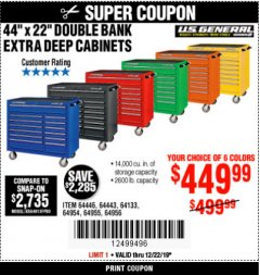 "Harbor Freight Coupon 44"" X 22"" DOUBLE BANK EXTRA DEEP ROLLER CABINETS Lot No. 64444/64445/64446/64441/64442/64443/64281/64134/64133/64954/64955/64956 Expired: 12/22/19 - $449.99"