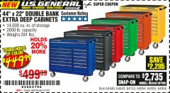 "Harbor Freight Coupon 44"" X 22"" DOUBLE BANK EXTRA DEEP ROLLER CABINETS Lot No. 64444/64445/64446/64441/64442/64443/64281/64134/64133/64954/64955/64956 Expired: 1/27/20 - $449.99"