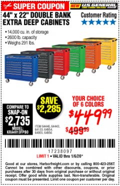 "Harbor Freight Coupon 44"" X 22"" DOUBLE BANK EXTRA DEEP ROLLER CABINETS Lot No. 64444/64445/64446/64441/64442/64443/64281/64134/64133/64954/64955/64956 Expired: 1/6/20 - $449.99"
