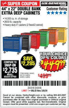 "Harbor Freight Coupon 44"" X 22"" DOUBLE BANK EXTRA DEEP ROLLER CABINETS Lot No. 64444/64445/64446/64441/64442/64443/64281/64134/64133/64954/64955/64956 Expired: 2/8/20 - $449.99"