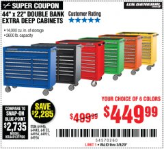 "Harbor Freight Coupon 44"" X 22"" DOUBLE BANK EXTRA DEEP ROLLER CABINETS Lot No. 64444/64445/64446/64441/64442/64443/64281/64134/64133/64954/64955/64956 Expired: 3/8/20 - $449.99"
