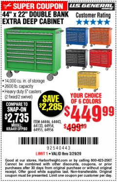 "Harbor Freight Coupon 44"" X 22"" DOUBLE BANK EXTRA DEEP ROLLER CABINETS Lot No. 64444/64445/64446/64441/64442/64443/64281/64134/64133/64954/64955/64956 Expired: 3/29/20 - $449.99"
