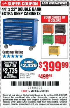 "Harbor Freight Coupon 44"" X 22"" DOUBLE BANK EXTRA DEEP ROLLER CABINETS Lot No. 64444/64445/64446/64441/64442/64443/64281/64134/64133/64954/64955/64956 Expired: 3/22/20 - $399.99"