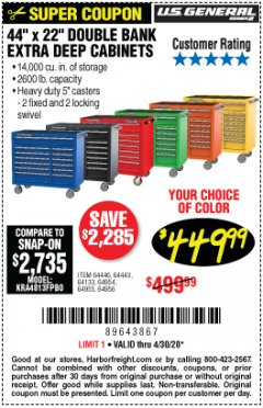 "Harbor Freight Coupon 44"" X 22"" DOUBLE BANK EXTRA DEEP ROLLER CABINETS Lot No. 64444/64445/64446/64441/64442/64443/64281/64134/64133/64954/64955/64956 Expired: 6/30/20 - $449.99"