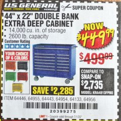 "Harbor Freight Coupon 44"" X 22"" DOUBLE BANK EXTRA DEEP ROLLER CABINETS Lot No. 64444/64445/64446/64441/64442/64443/64281/64134/64133/64954/64955/64956 Expired: 7/1/20 - $449.99"
