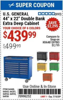 "Harbor Freight Coupon 44"" X 22"" DOUBLE BANK EXTRA DEEP ROLLER CABINETS Lot No. 64444/64445/64446/64441/64442/64443/64281/64134/64133/64954/64955/64956 Expired: 7/15/20 - $439.99"