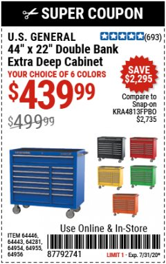 "Harbor Freight Coupon 44"" X 22"" DOUBLE BANK EXTRA DEEP ROLLER CABINETS Lot No. 64444/64445/64446/64441/64442/64443/64281/64134/64133/64954/64955/64956 Expired: 7/31/20 - $439.99"