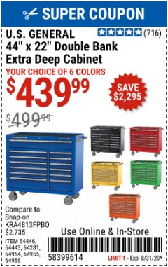 "Harbor Freight Coupon 44"" X 22"" DOUBLE BANK EXTRA DEEP ROLLER CABINETS Lot No. 64444/64445/64446/64441/64442/64443/64281/64134/64133/64954/64955/64956 Expired: 8/31/20 - $439.99"