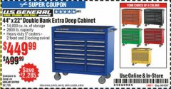 "Harbor Freight Coupon 44"" X 22"" DOUBLE BANK EXTRA DEEP ROLLER CABINETS Lot No. 64444/64445/64446/64441/64442/64443/64281/64134/64133/64954/64955/64956 Expired: 9/24/20 - $449.99"