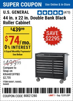"Harbor Freight Coupon 44"" X 22"" DOUBLE BANK EXTRA DEEP ROLLER CABINETS Lot No. 64444/64445/64446/64441/64442/64443/64281/64134/64133/64954/64955/64956 Expired: 12/31/20 - $439.99"