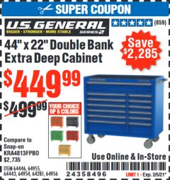 "Harbor Freight Coupon 44"" X 22"" DOUBLE BANK EXTRA DEEP ROLLER CABINETS Lot No. 64444/64445/64446/64441/64442/64443/64281/64134/64133/64954/64955/64956 Expired: 2/5/21 - $449.99"