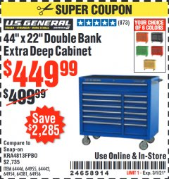 "Harbor Freight Coupon 44"" X 22"" DOUBLE BANK EXTRA DEEP ROLLER CABINETS Lot No. 64444/64445/64446/64441/64442/64443/64281/64134/64133/64954/64955/64956 Expired: 3/1/21 - $449.99"