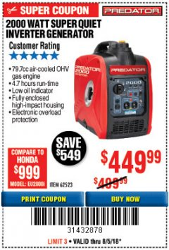 Harbor Freight Coupon 2000 PEAK / 1600 RUNNING WATTS 2.8 HP (79.7 CC) PORTABLE INVERTER GENERATOR Lot No. 62523 Expired: 8/5/18 - $449.99