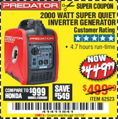 Harbor Freight Coupon 2000 PEAK / 1600 RUNNING WATTS 2.8 HP (79.7 CC) PORTABLE INVERTER GENERATOR Lot No. 62523 Expired: 12/1/18 - $449.99