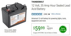 Harbor Freight Coupon 12 VOLT,35 AMP HOUR UNIVERSAL BATTERY Lot No. 64102 / 68680 EXPIRES: 6/30/20 - $59.99