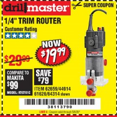 "Harbor Freight Coupon 1/4"" TRIM ROUTER Lot No. 62659/61626/44914 Expired: 6/30/20 - $19.99"