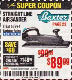 Harbor Freight Coupon BAXTER STRAIGHT LINE AIR SANDER Lot No. 63994 Expired: 12/31/18 - $89.99