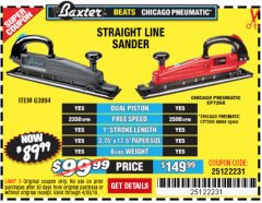 Harbor Freight Coupon BAXTER STRAIGHT LINE AIR SANDER Lot No. 63994 Expired: 4/30/19 - $89.99
