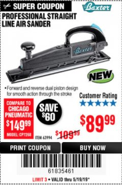 Harbor Freight Coupon BAXTER STRAIGHT LINE AIR SANDER Lot No. 63994 Expired: 5/19/19 - $89.99