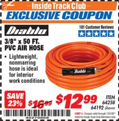 "Harbor Freight ITC Coupon DIABLO 3/8"" X 50 FT PVC AIR HOSE Lot No. 64192/64258 Expired: 1/31/20 - $12.99"