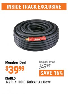 "Harbor Freight ITC Coupon DIABLO 3/8"" X 100 FT. INDUSTRIAL GRADE RUBBER AIR HOSE  Lot No. 62883/62886 Valid Thru: 4/29/21 - $39.99"