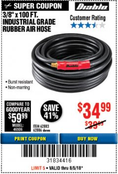 "Harbor Freight Coupon DIABLO 3/8"" X 100 FT. INDUSTRIAL GRADE RUBBER AIR HOSE  Lot No. 62883/62886 Expired: 8/5/18 - $34.99"