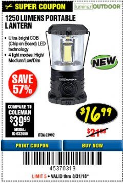 Harbor Freight Coupon 1250 LUMENS PORTABLE LANTERN Lot No. 63992 Expired: 8/31/18 - $16.99