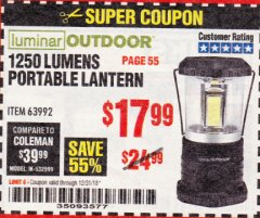 Harbor Freight Coupon 1250 LUMENS PORTABLE LANTERN Lot No. 63992 Expired: 12/31/18 - $17.99