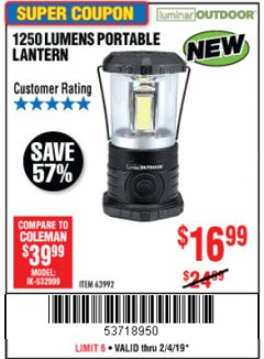Harbor Freight Coupon 1250 LUMENS PORTABLE LANTERN Lot No. 63992 Expired: 2/4/19 - $16.99