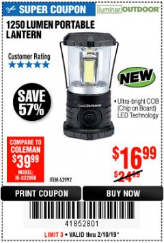 Harbor Freight Coupon 1250 LUMENS PORTABLE LANTERN Lot No. 63992 Expired: 2/10/19 - $16.99