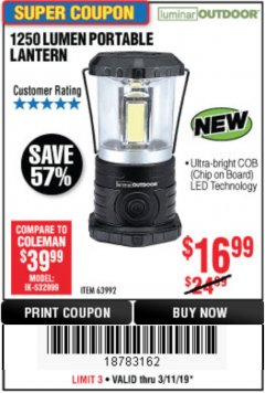 Harbor Freight Coupon 1250 LUMENS PORTABLE LANTERN Lot No. 63992 Expired: 3/11/19 - $16.99