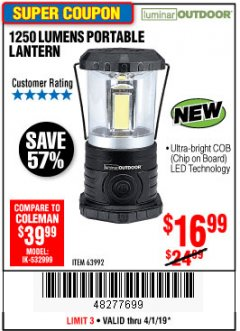 Harbor Freight Coupon 1250 LUMENS PORTABLE LANTERN Lot No. 63992 Expired: 4/1/19 - $16.99