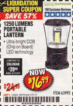 Harbor Freight Coupon 1250 LUMENS PORTABLE LANTERN Lot No. 63992 Expired: 5/31/19 - $16.99