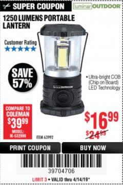 Harbor Freight Coupon 1250 LUMENS PORTABLE LANTERN Lot No. 63992 Expired: 4/14/19 - $16.99