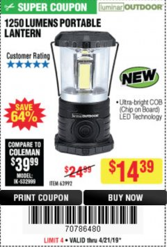 Harbor Freight Coupon 1250 LUMENS PORTABLE LANTERN Lot No. 63992 Expired: 4/21/19 - $14.39