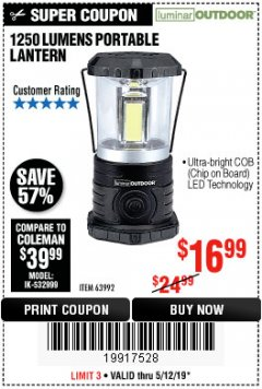 Harbor Freight Coupon 1250 LUMENS PORTABLE LANTERN Lot No. 63992 Expired: 5/12/19 - $16.99