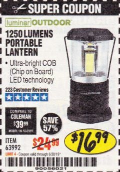 Harbor Freight Coupon 1250 LUMENS PORTABLE LANTERN Lot No. 63992 Expired: 6/30/19 - $16.99