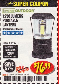 Harbor Freight Coupon 1250 LUMENS PORTABLE LANTERN Lot No. 63992 Expired: 7/31/19 - $16.99