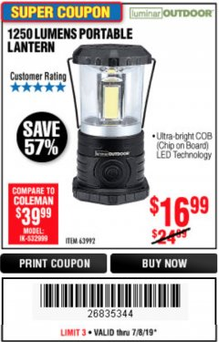 Harbor Freight Coupon 1250 LUMENS PORTABLE LANTERN Lot No. 63992 Expired: 7/7/19 - $16.99