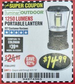 Harbor Freight Coupon 1250 LUMENS PORTABLE LANTERN Lot No. 63992 Expired: 8/31/19 - $14.99
