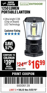 Harbor Freight Coupon 1250 LUMENS PORTABLE LANTERN Lot No. 63992 Expired: 9/22/19 - $16.99