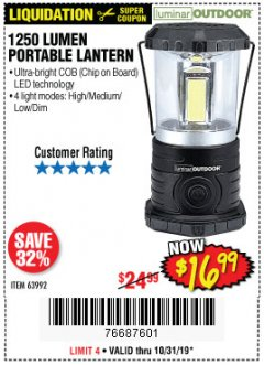 Harbor Freight Coupon 1250 LUMENS PORTABLE LANTERN Lot No. 63992 Expired: 10/31/19 - $16.99