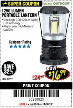 Harbor Freight Coupon 1250 LUMENS PORTABLE LANTERN Lot No. 63992 Expired: 11/30/19 - $16.99