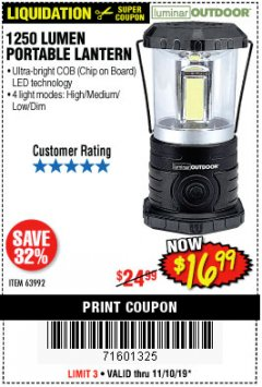 Harbor Freight Coupon 1250 LUMENS PORTABLE LANTERN Lot No. 63992 Expired: 11/10/19 - $16.99