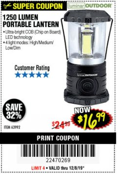 Harbor Freight Coupon 1250 LUMENS PORTABLE LANTERN Lot No. 63992 Expired: 12/8/19 - $16.99