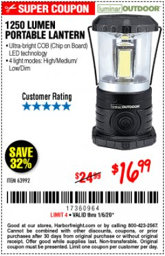 Harbor Freight Coupon 1250 LUMENS PORTABLE LANTERN Lot No. 63992 Expired: 1/6/20 - $16.99