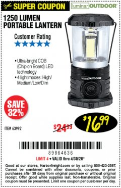 Harbor Freight Coupon 1250 LUMENS PORTABLE LANTERN Lot No. 63992 Valid Thru: 4/30/20 - $16.99